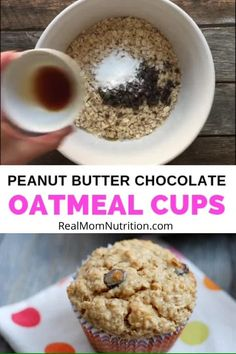 These hearty Peanut Butter Chocolate Oatmeal Cups make a filling breakfast or healthy snack that's full of fiber and protein. Healthy Eating Recipes, Snack Recipes, Dessert Recipes, Healthy Food, Healthy Muffins, Muffin Recipes, Healthy Meals, Vegan Recipes, Breakfast Bars