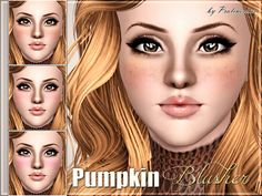 Pralinesims' Pumpkin Blusher: New blusher with freckles for your sims! Your sims will love their new look ;) - Fits with all eye- and faceshapes - Works for male and female sims - With launcher and CAS Thumbnail - Three recolorable channels