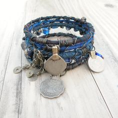 Silk Road Bangle Stack, Cobalt Blue, 5 Silk Wrapped Boho Tribal Bracelets, Set with Gypsy Coin Charms