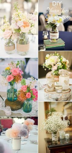 DIY rustic inspired mason jars wedding tablke setting and centerpieces