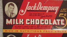 (Jack Dempsey Chocolate Candy Bar wrapper -1950s). The Jack Dempsey candy bar was produced by Loft, Inc. William Loft opened a candy store in Lower Manhattan in 1860. The business thrived and expanded with Loft's two sons following in his footsteps. By the 1920's, Loft, Inc. was the largest maker and seller of candy in the world. Penny Candy, Candy Companies, Candy Bar Wrappers, Lower Manhattan, Candy Bars, Candy Store, Delicious Chocolate, 1950s, Sons