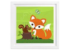 239 Fox Nursery Print  Fox and Squirrel Wall Art  by leearthaus