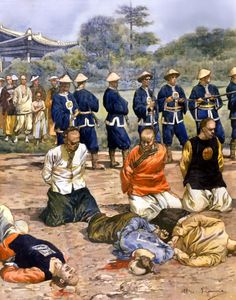 Boxer Rebellion, Firing squad executing peasants who had converted to Catholicism in China