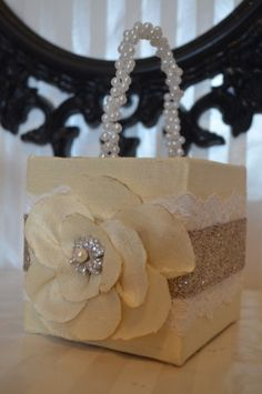 Flower+Girl+Basket+Ivory+silk+square+basket+by+ForeverLoveNotes,+$35.00