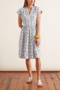 Gal Meets Glam Cecily Dress in Blue/Coral – Hampden Clothing Hampden Clothing, Gal Meets Glam, Coral Blue, Office Outfits, Modest Fashion, Smocking, Elastic Waist, Pants For Women, Short Sleeves