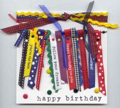 """happy birthday"" card Creative Impressions Ribbon/Brads"