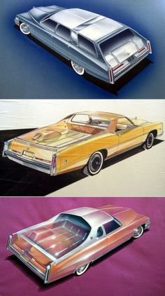 1975 1976 Cadillac Mirage Sports Wagon and Castilian Fleetwood Estate Wagon - Traditional Coach Works Ltd. All Cadillac Drawings by Jack Patrick