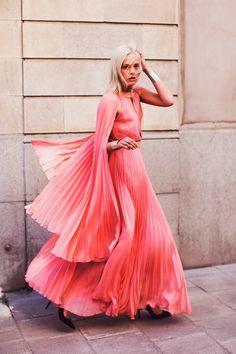 pink flowy pleats