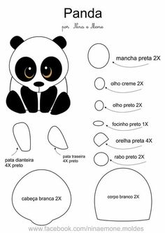 Panda Felt Animal Patterns, Quiet Book Patterns, Stuffed Animal Patterns, Felt Diy, Felt Crafts, Panda Craft, Animal Templates, Diy Y Manualidades, Panda Party