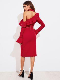 Lace Insert Bell Cuff Flounce Asymmetric Shoulder Split Dress -SheIn(Sheinside)