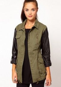 Army Green PU Leather Drawstring Cotton Trench Coat