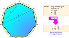 Geometry Problem 63: Regular Heptagon, side and diagonals. Level: High School, College, Math Education.