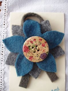 recycled felt flower brooch £6.00...would look gr8 on a crocheted scarf.