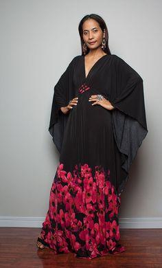 Boho Maxi Dress - Kaftan Kimono Butterfly Dress with floral print: Elegant Collection on Etsy, $59.00