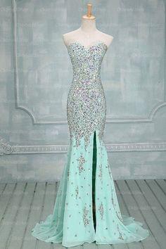 mermaid prom dress, Mint prom dress, rhinestone prom dress, chiffon prom dress, prom dresses 2016, 15043