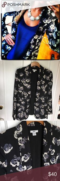 Bar III Black and floral blazer, size small Amazing stand out blazer! Black with cream and grey flowers.  Faux pockets, no button closure. 100% polyester. Bar III Jackets & Coats Blazers