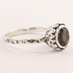 Antique Fashion Hammered Ring Size US 7 Natural Smoky Quartz Gemstone Smoky Quartz Ring, Smokey Topaz, Emerald Cut Rings, Silver Jewellery Indian, Handcrafted Jewelry, Sterling Silver Jewelry, Gemstone, Wedding Rings, Jewels