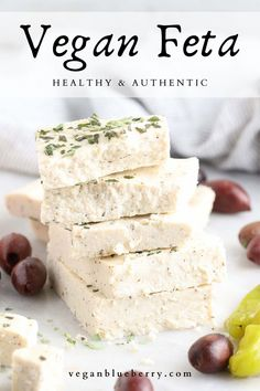 Vegan Feta Cheese, Feta Cheese Recipes, Dairy Free Cheese, Coconut Cheese, Best Vegan Cheese, Vegan Queso, Cheese Fruit, Vegan Foods, Vegan Snacks