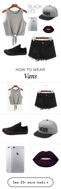 """""""BLACK LIFE"""" by mywhisperingcloud on Polyvore featuring Converse, Vans and Lime Crime"""