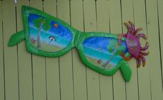 44in Metal Green Sunglasses with Crab Wall Art