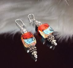 Beaded dangle earrings. Aqua light blue rust red amber rectangle round silver Bali beads and silver findings. on Etsy, $17.00