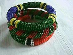 Three multicolored African Masai/Maasai beads bracelets, $18.00