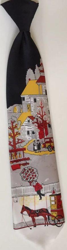 Colonial scene tie men's vintage necktie Sears by SweetVintageRoad