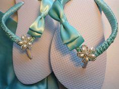 Wedding Shoes flip flops | Tiffany blue shoes bridal flip flops for blue by AdrianaDosSantos, $39 ...