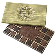 Customize a box of chocolate!  Crumpled Gold Foil Christmas Paper and Bow 45 Piece Assorted Chocolate Box
