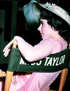Elizabeth Taylor on the set of Giant, 1956