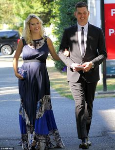 64ff4c38eaf Michael Bublé s wife Luisana shows off her baby bump in stunning maxi dress  for friend s wedding as she approaches the final week of her pregnancy
