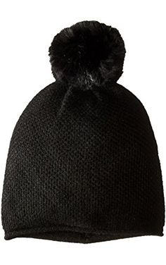 Sofia Cashmere Women's Honeycomb Textured Hat with Faux Fur Pom, Black, One Size ❤ Sofia Cashmere Women's Accessories