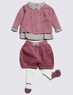 4 Piece Cotton Rich Cardigan, Top, Shorts & Tights Outfit | M&S