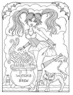 Magical Witches Coloring fun Halloween for all ages spooky, cute, whimsical and some chubby witches Witch Coloring Pages, Tattoo Coloring Book, Cat Coloring Page, Halloween Coloring Pages, Printable Coloring Pages, Coloring Books, Free Adult Coloring, Printing And Binding, Art Original