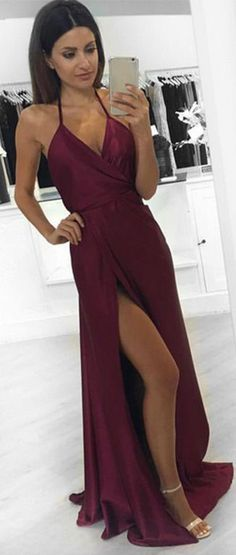 Burgundy Prom Dresses,Long Prom Dresses,Sexy Evening Dresses,Simple Prom Gown, Prom Dresses