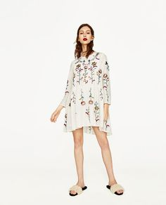 Image 1 of SILK DRESS WITH FLOWERS EMBROIDERY from Zara