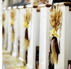 Fall wedding pew decorations for the church ceremony. Wheat Wedding, Wedding Pews, Fall Wedding, Rustic Wedding, Our Wedding, Wedding Flowers, Wedding Church, Wedding Pew Decorations, Church Aisle Decorations