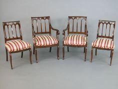 c1850 Gothic dining chairs, attr J&JW Meeks, NYC, mah, 8, 36t,34t, 3-16.
