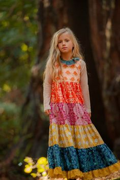 Persnickety Clothing - Loa Dress in Multi-color Fall 2013 Phase 2 For Rae, but with a happier face. Girls Boutique, Boutique Dresses, Boutique Clothing, Girls Maxi Dresses, Little Girl Dresses, Diy Kleidung Upcycling, Persnickety Clothing, Kids Outfits, Cute Outfits