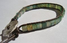 Green moss Agate wrap bracelet on brown leather by dzinebug, €25.00
