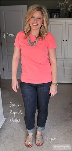 The Small Things Blog: straight cuffed jeans, tee, sandals.