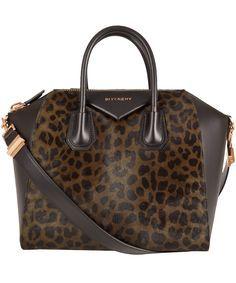 6481381444 Givenchy Medium Khaki Leopard Print Antigona Bag ( 2