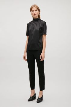 COS image 1 of Top with draped sleeves in Black