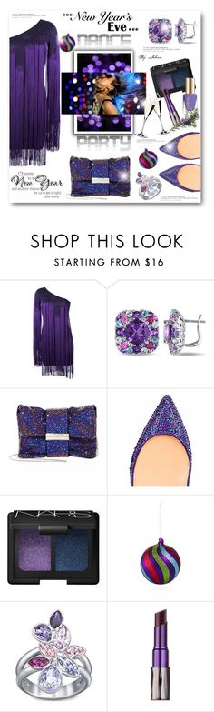 """""""Dance Party!"""" by jelenalazarevicpo ❤ liked on Polyvore featuring Roberto Cavalli, Miadora, Jimmy Choo, Christian Louboutin, NARS Cosmetics, Bloomingdale's, Swarovski, Urban Decay and Riedel"""