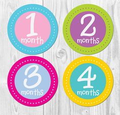 Baby Monthly Stickers, Stickers for Baby, Bright Colors, Monthly Baby Stickers, Watch Me Grow,  Baby Girl Monthly, First Year Sticker on Etsy, $8.50