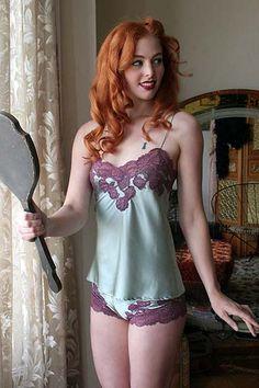 Mary Green Paris Satin Doll Sea Mist Silk Camisole via Dollhouse Bettie