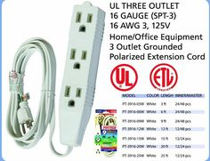 3 OUTLET 3 PRONG EXTENSION CORD UL LISTED - 16 GAUGE SPT-3 125V #POWTECH