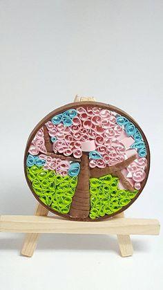 Round Cherry Blossom Tree Mosaic Quilled Art - Colorful Abstract Art - Abstract Color Art - Abstract Landscape Art - Abstract Tree Art