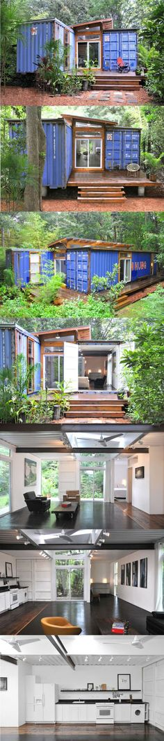 A Light-Filled Shipping Container Home in Savannah, Georgia ~ Artist & designer Julio Garcia used two offset 40-ft containers & set them on a foundation of steel I-beams resting on concrete piers. The interior walls were cut out for the center wood-framed addition with shed roof & clerestory windows that fill the modest space with loads of daylight. Wood & a lot of bright interior furnishings make the one-bedroom 800SF home a perfect retreat for an artist.