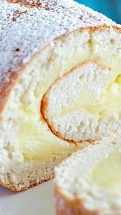 Creamy Lemon Angel Cake Roll ~ A light & delicious angel cake roll filled with creamy lemon custard. Creamy Lemon Angel Cake Roll ~ A light & delicious angel cake roll filled with creamy lemon custard. Lemon Desserts, Lemon Recipes, Just Desserts, Baking Recipes, Sweet Recipes, Delicious Desserts, Yummy Food, Lemon Cakes, Egg White Recipes